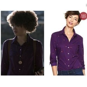 GAP Fitted Boyfriend Shirt Purple Dot Print XS